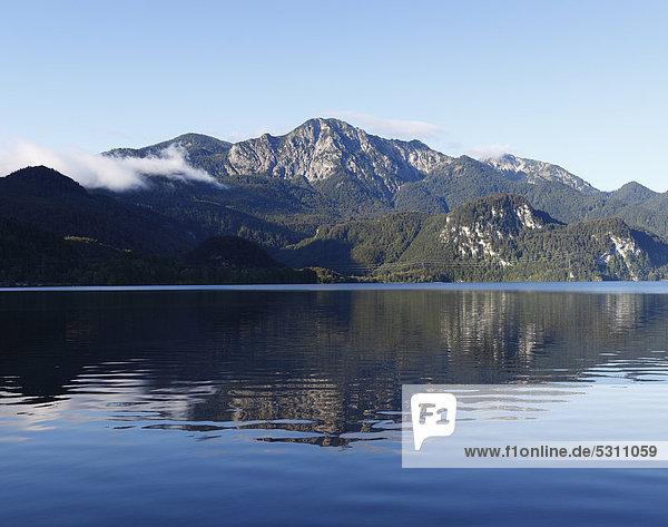 Kochelsee mit Herzogstand  Blick von Kochel am See  Oberbayern  Bayern  Deutschland  Europa  ÖffentlicherGrund