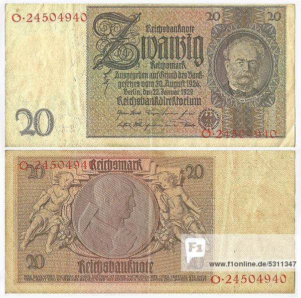 Alte Banknote  Vorderseite und Rückseite  Reichsbanknote  20 Reichsmark  Reichsbankdirektorium  um 1929