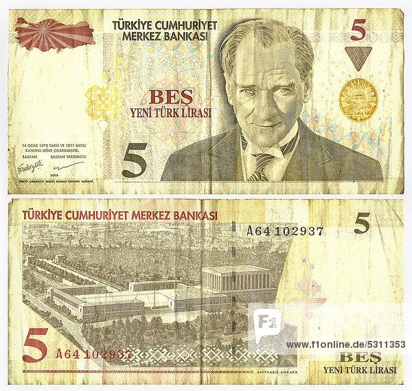 Alte Banknote  Vorderseite und Rückseite  5 türkische Lirasi  türkische Banknote  um 1970