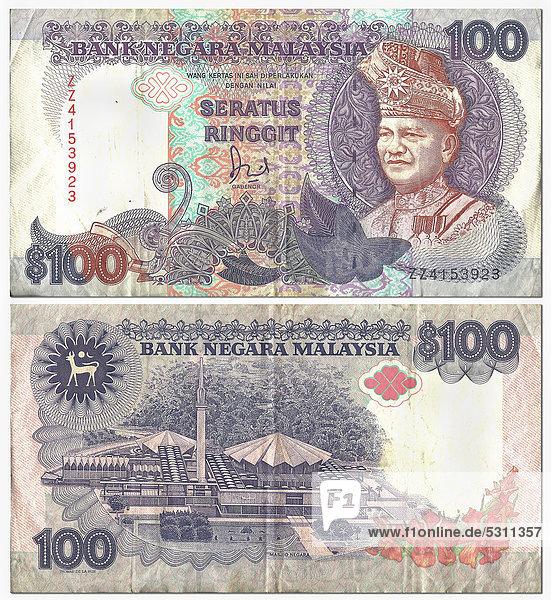 Alte Banknote  Vorderseite und Rückseite  100 Ringgit  Malaysia  Bank Negara Malaysia