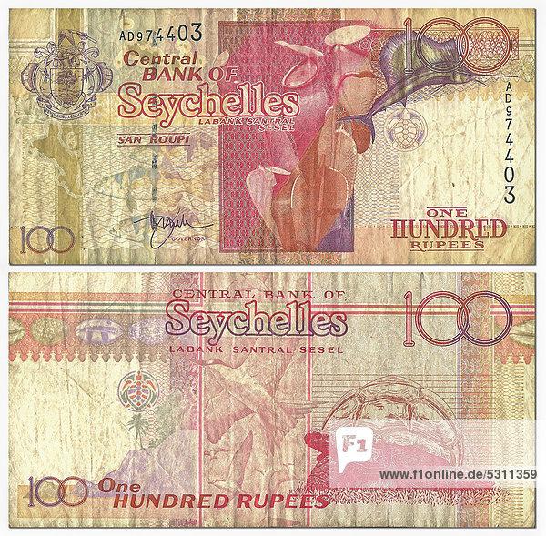 Alte Banknote  Vorderseite und Rückseite  100 Rupees  Seychellen  Central Bank of Seychelles