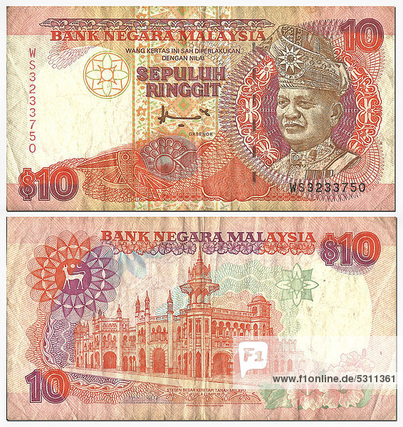 Alte Banknote  Vorderseite und Rückseite  10 Ringgit  Malaysia  Bank Negara Malaysia