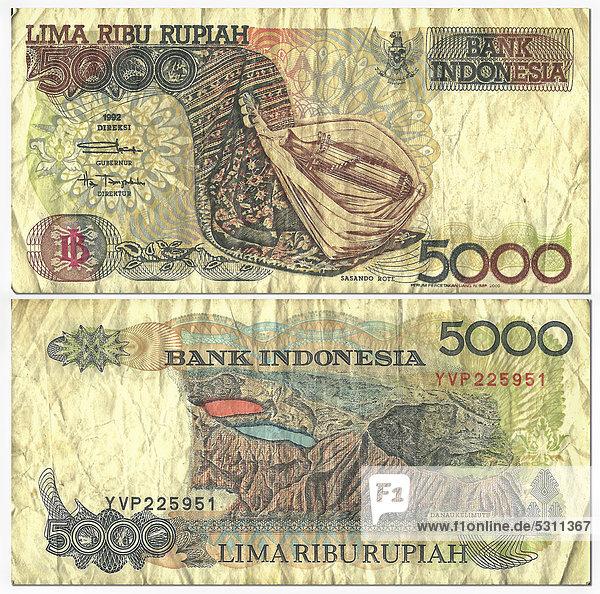 Alte Banknote  Vorderseite und Rückseite  5000 Rupiah  Indonesien  Bank Indonesia