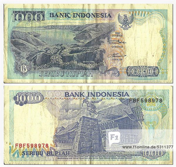 Alte Banknote  Vorderseite und Rückseite  1000 Rupiah  Indonesien  Bank Indonesia