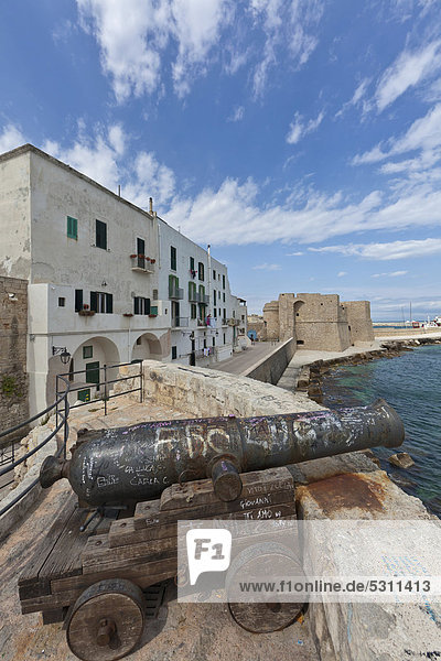 Lungomare Santa Maria with old cannons in front of the Castello Monopoli  Monopoli  Apulia  Southern Italy  Italy  Europe