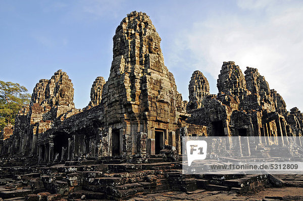 Bayon temple  temple complex of Angkor Wat  Siem Reap  Cambodia  Asia