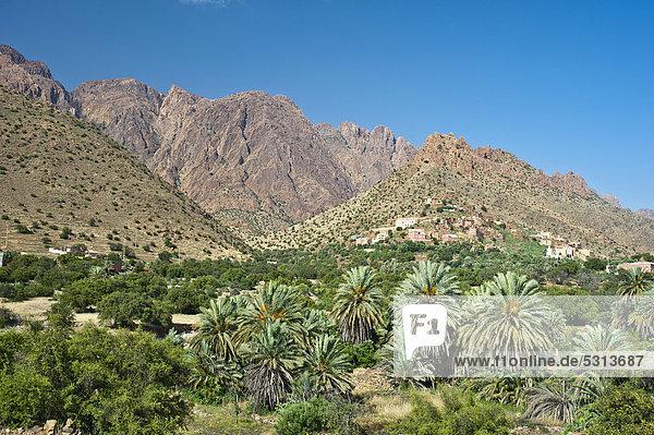 Berg Tradition Landschaft Gebäude Hügel Dorf typisch Afrika Berber