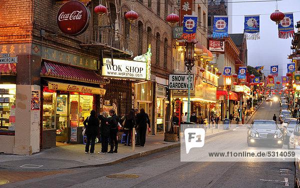 Street with lanterns in Chinatown at dusk  San Francisco  California  USA  PublicGround