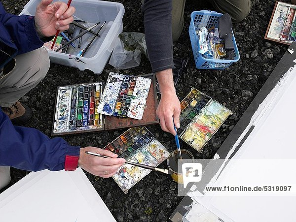 Painting with watercolors out in nature  Iceland