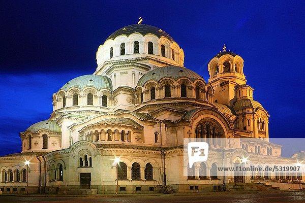 Sofia  Hauptstadt  Nacht  Kathedrale  Ansicht  Bulgarien