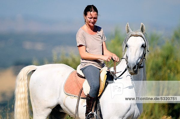 Amazon riding in the mountains of El Pardo in Madrid