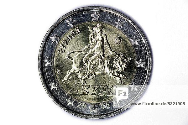 Griechische Zwei-Euro-Münze