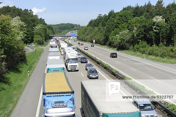 Traffic jam on the A8 highway near Stuttgart following the accident of a hazardous goods transporter  looking towards Karlsruhe  Baden-Wuerttemberg  Germany  Europe