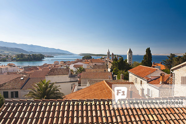 View towards the four bell towers of the town of Rab  Rab Island  Primorje-Gorski Kotar  Croatia  Europe