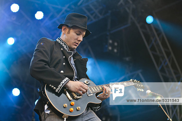 Guitarist Joe Buchli of the Swiss band 77 Bombay Street playing live at the Heitere Open Air music festival in Zofingen  Switzerland  Europe