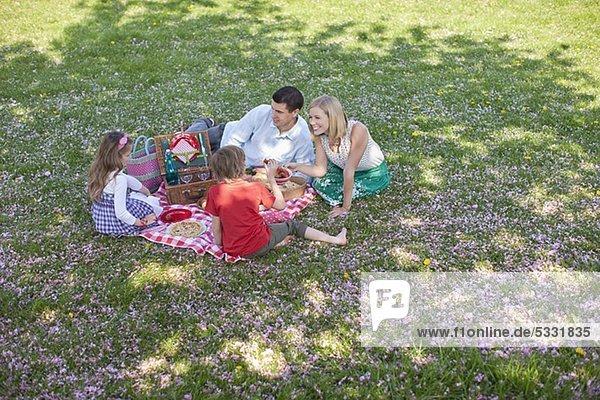 Familie macht im Park ein Picknick