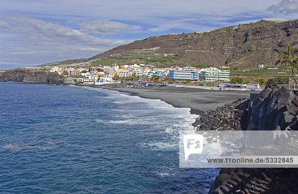 Strand von Puerto Naos  La Palma  Kanarische Inseln  Spanien  Europa  Atlantischer Ozean