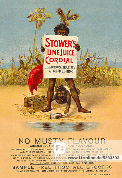 Englische Anzeigenwerbung für Stower's Lime Juice Cordial Limettensaft  aus The Idler  Merritt & Hatcher  London von 1893  England  Großbritannien  Europa Englische Anzeigenwerbung für Stower's Lime Juice Cordial Limettensaft, aus The Idler, Merritt & Hatcher, London von 1893, England, Großbritannien, Europa