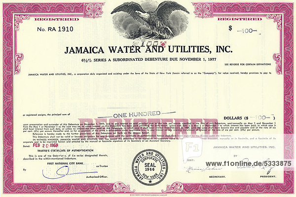 Historische Aktie  Jamaica Water and Utilities Inc.  New York  USA  1977