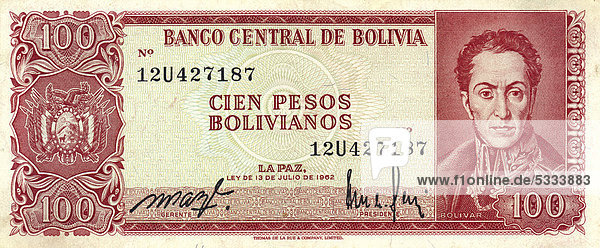 Banknote aus Bolivien  100 Pesos  Simon Bolivar  1962