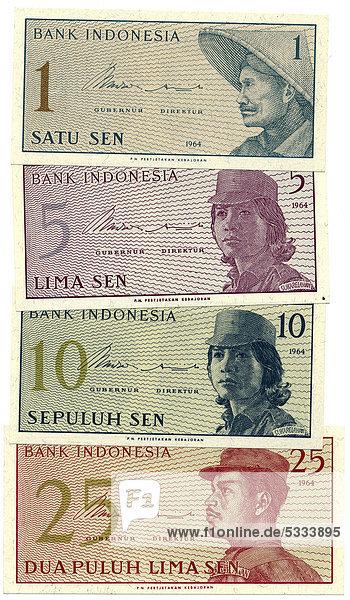 Indonesische Rupiah  Banknoten aus Indonesien  1964