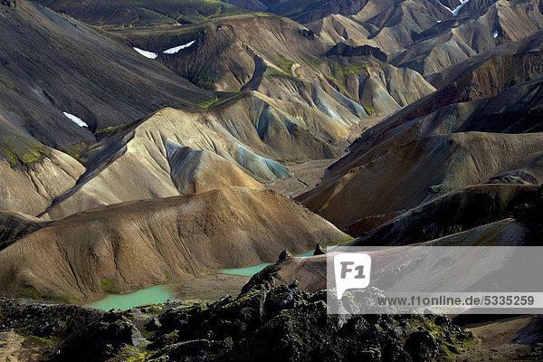 Farbige Rhyolith-Berge von Landmannalaugar  Island  Europa