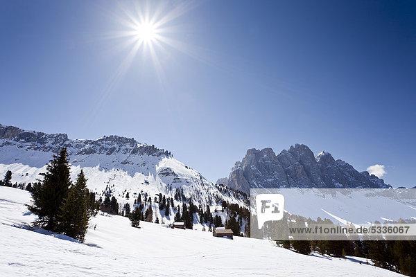 Ausblick beim Aufstieg zum Zendleserkofel im Villnösstal  hinten die Geislerspitzen  Dolomiten  Südtirol  Italien  Europa