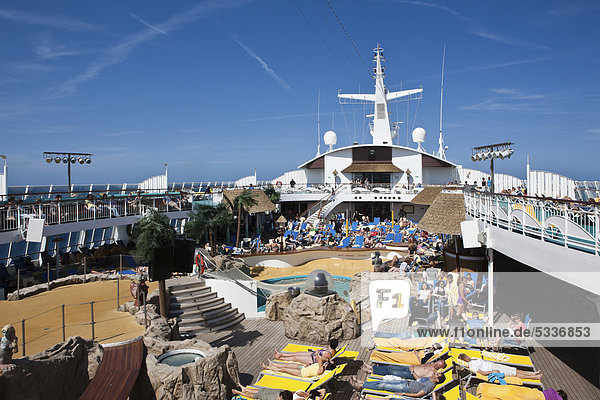 Sun deck of the Aida Club Cruiser  Corsica  France  Europe - Attention: Restricted right of use! Please ALWAYS contact the press office before publishing this picture: AIDA Cruises  Am Strande 3d  18055 Rostock  Germany  +49 (0) 381 / 444-8021  public-relations@aida.de