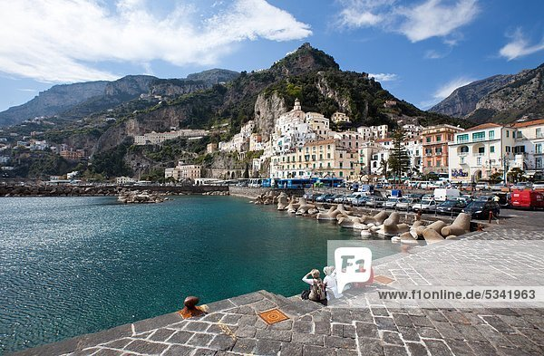 Italy  Campania  Amalfi  View of the Village from the Pier