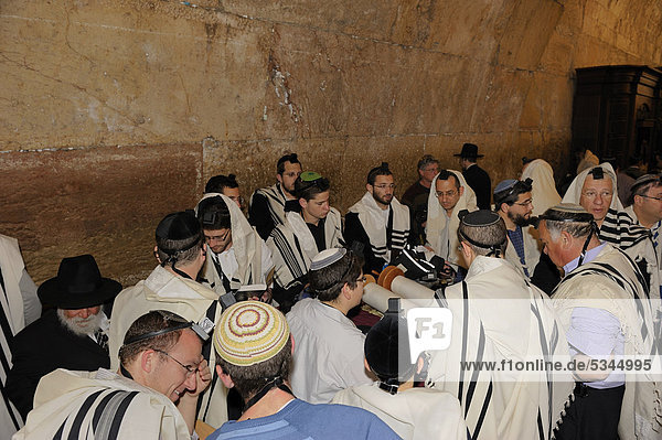 Bar Mitzvah  Jewish coming of age ritual  Western Wall or Wailing Wall  Old City of Jerusalem  Arab Quarter  Israel  Middle East
