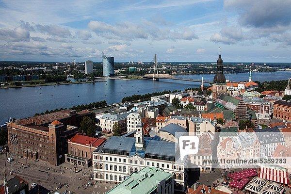 Riga City The Old Town  Rigas Doms  Cables Bridge.