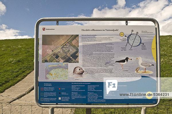 Informationstafel am Deich für den Nationalpark Wattenmeer nahe Greetsiel  Ostfriesland  Niedersachsen  Deutschland  Europa