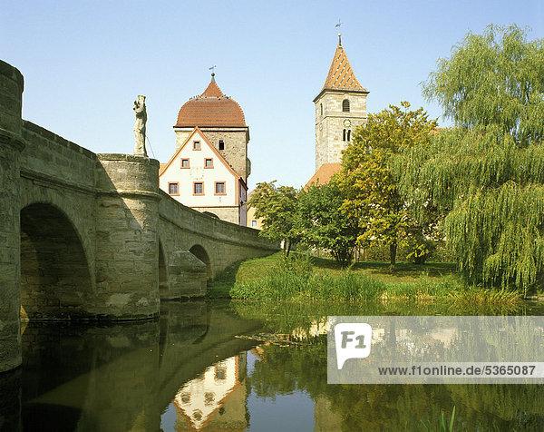 Brücke über die Altmühl  Ornbau  Mittelfranken  Franken  Bayern  Deutschland  Europa