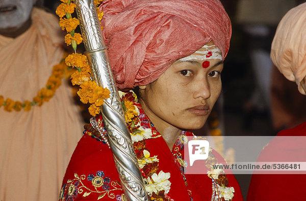 Sadhvi  a female ascetic  rarely seen in India  Varanasi  Uttar Pradesh  India  Asia