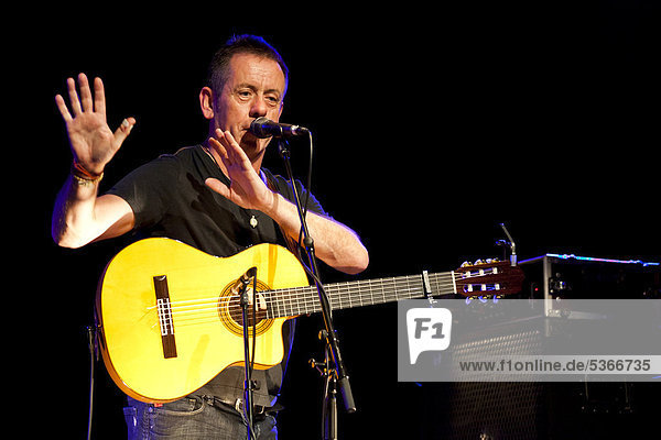 Irish singer and songwriter Kevin Barry Moore  also known as Luka Bloom playing live in the Schueuer concert hall  Lucerne  Switzerland  Europe