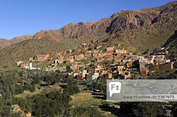 Nordafrika Tal Dorf Afrika Marokko