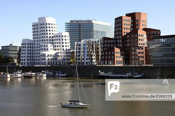 Neuer Zollhof  Gehry-Bauten  Architekt Frank O. Gehry im Medienhafen  Düsseldorf  Rheinland  Nordrhein-Westfalen  Deutschland  Europa  ÖffentlicherGrund