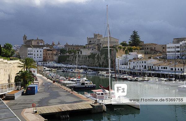 Harbour  Ciutadella  Menorca  Balearic Islands  Spain  Europe