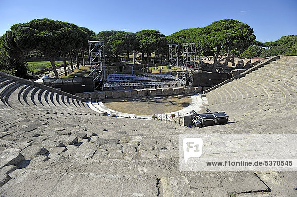 Ancient Roman theater in the Ostia Antica archaeological site  ancient port city of Rome  Lazio  Italy  Europe