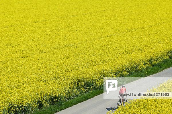 Der Mensch radelt durch die Felder Der Mensch radelt durch die Felder