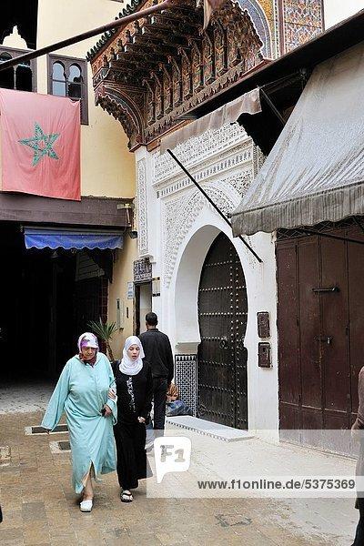 narrow street of the medina  Meknes  Morocco  North Africa