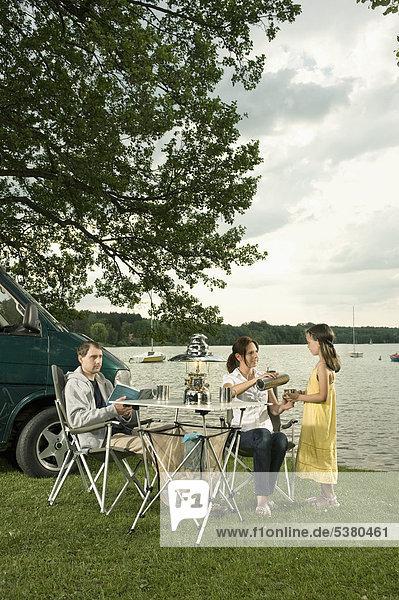Deutschland  Bayern  Wörthsee  Familiencamping am Seeufer