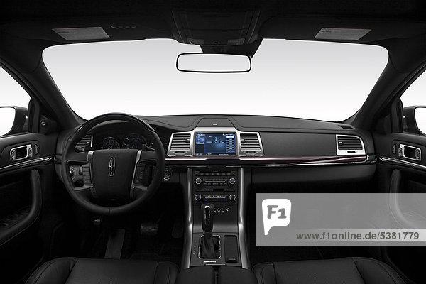 2012 Lincoln MKS in schwarz - Armaturenbrett  Mittelkonsole  Getriebe Schalthebel anzeigen