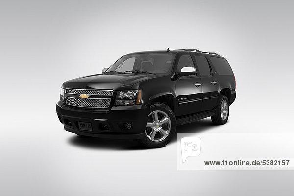 schwarz frontal Ansicht Flachwinkelansicht Chevrolet Vorort Winkel