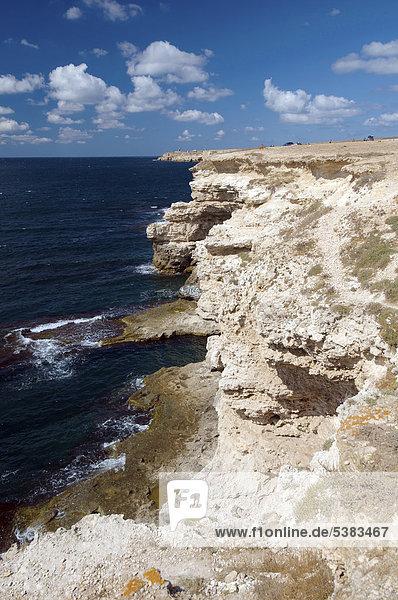 Küste  Kap Tarhankut  Tarhan Qut  Halbinsel Krim  Ukraine  Osteuropa