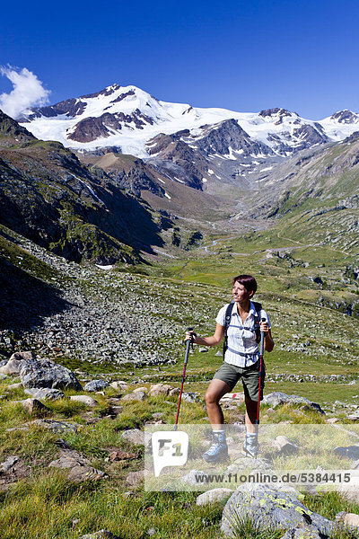Female mountaineer ascending to Mt Rotspitz in Martell valley  mountains Cevedale and Zufallspitze at back  South Tyrol  Italy  Europe