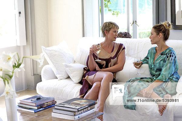 Interior zu Hause Frau Wein reifer Erwachsene reife Erwachsene trinken