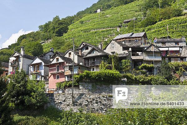 Overlooking the village of Vogorno  Valle Verzasca Valley  Ticino  Switzerland  Europe