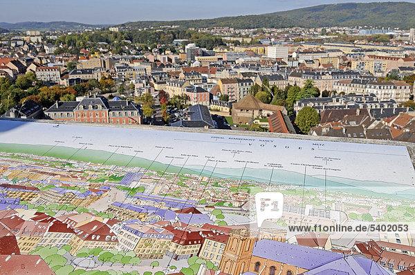 Blick von der Zitadelle  Festung  Landkarte  Übersicht  Stadtansicht  Belfort  Franche-Comte  Frankreich  Europa