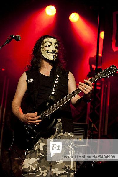 Guitarist of the Italian heavy rock band Merendine performing live in the Schueuer concert hall in Lucerne  Switzerland  Europe